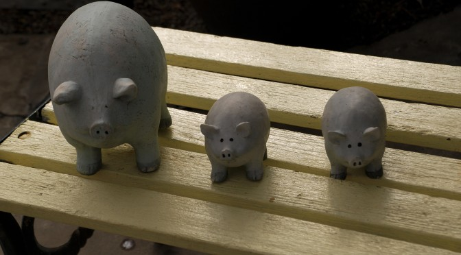 photo of clay pigs